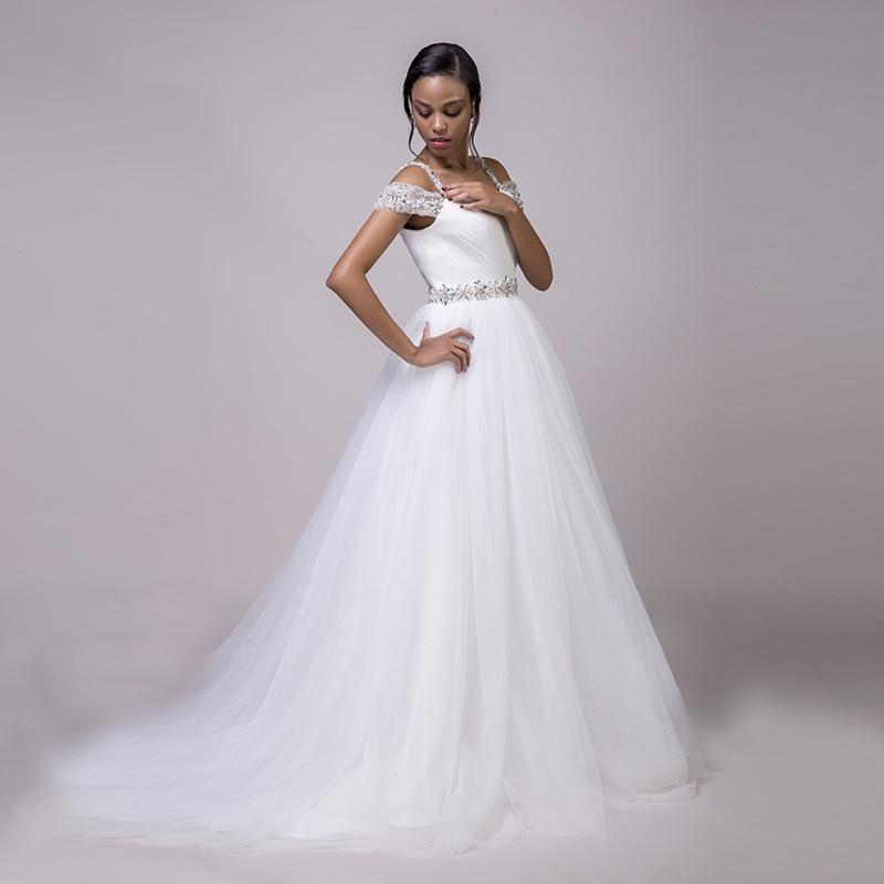 Spaghetti Strap Beach Boho Wedding Dresses Beaded Sashes Princess Off the Shoulder Bridal Dress White Wedding Gown Custom made