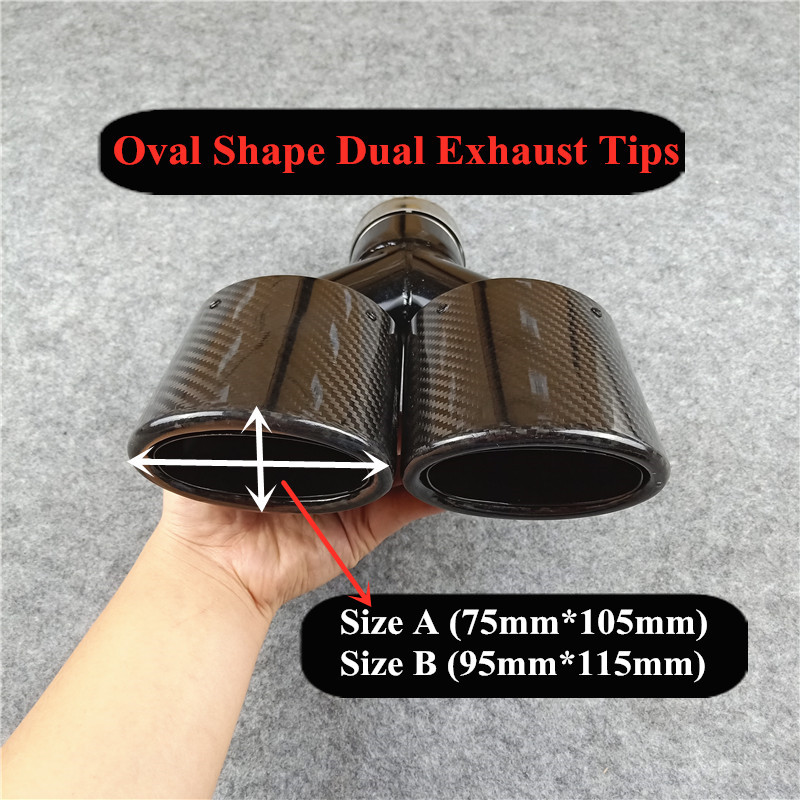 oval shape glossy black carbon exhaust tips muffler nozzles for akrapovic carbon stainless steel exhaust system tail pipes