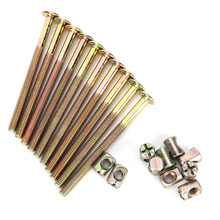 10 pcs/Lot M6 Carbon Steel Furniture Bolts With Barrel Nuts Dowel Nut Connector Fastener peng fa 35 steel t nut sleeve steel t type sliding nut milling working table fixing t bolts t slot nuts set t slots nut for t tr