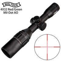 Walther 4x32 ao mini mil-dot cor dupla iluminado retículo caça riflescope mira óptica tático rifle escopo