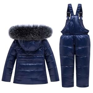 Image 2 -  30 חורף חליפת שלג בגדי ילדי סט תינוק ילד לבן ברווז למטה עמיד למים מעיל לילדה ילדי מעיל + סינר מכנסיים Enfant Parka