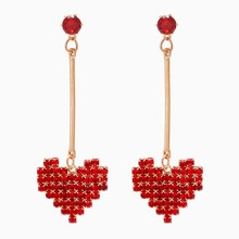Wholesale Korean Fashion Statement Red Crystal Earrings Long Tassel Heart Dangle Drop Earrings for Women Bijoux Brincos Oorbellen Aretes De Mujer(China)
