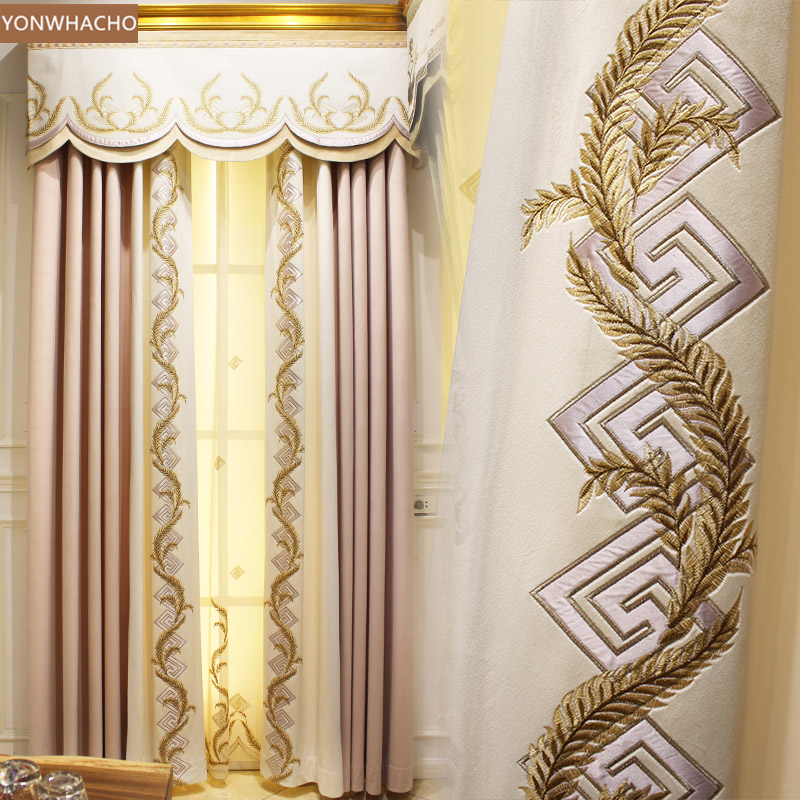 Custom curtains European light luxury pink bedroom study ...