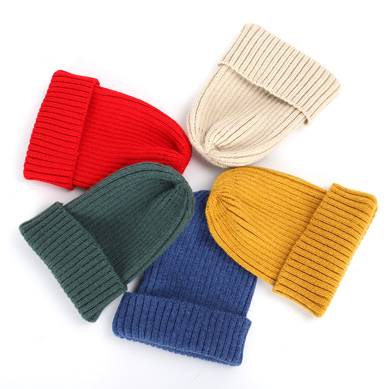 2019 New Winter Solid Color Wool Knit Beanie Women Fashion Casual Hat Warm Female Soft Thicken Hedging Cap Slouchy Bonnet Ski 4
