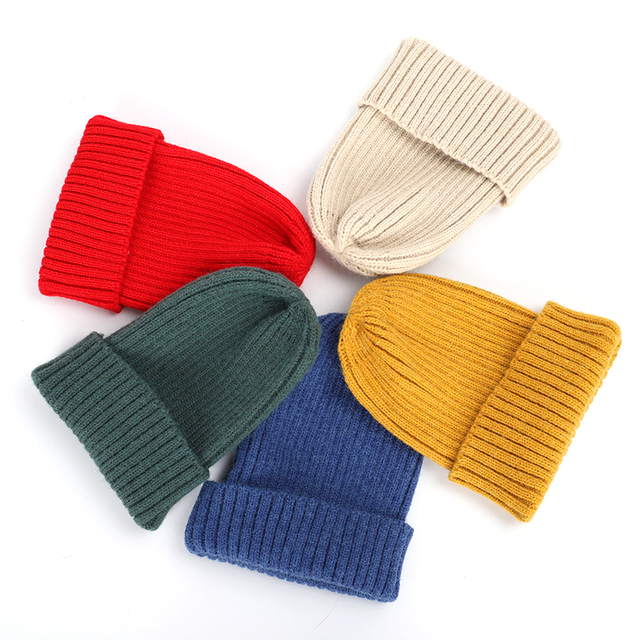 New Winter Solid Color Knit Beanie Casual Hat Warm Soft Thicken Hedging Cap 4