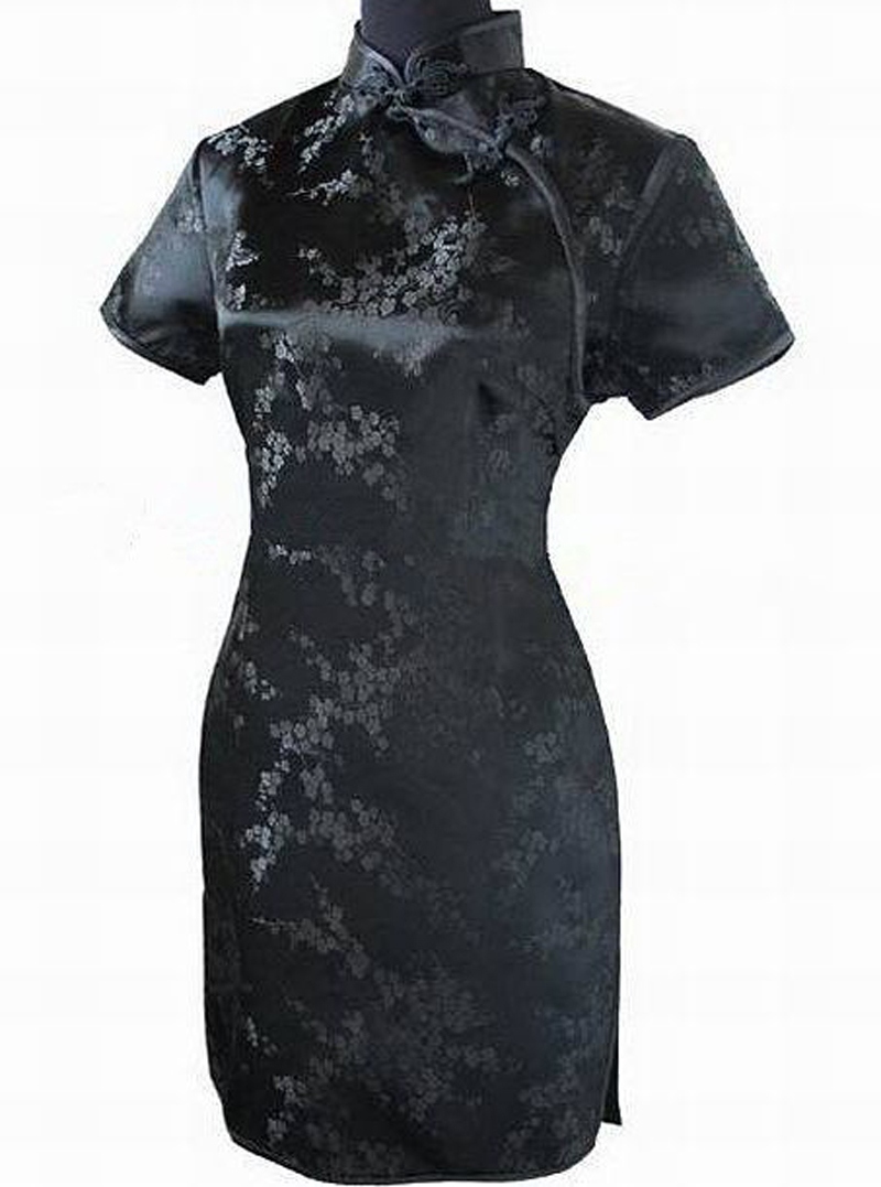Novelty Female Short Sleeve Dress Oversize 3XL Vestidso Cheongsam Gold Flower Mandarin Collar Traditional Chinese Style Qipao