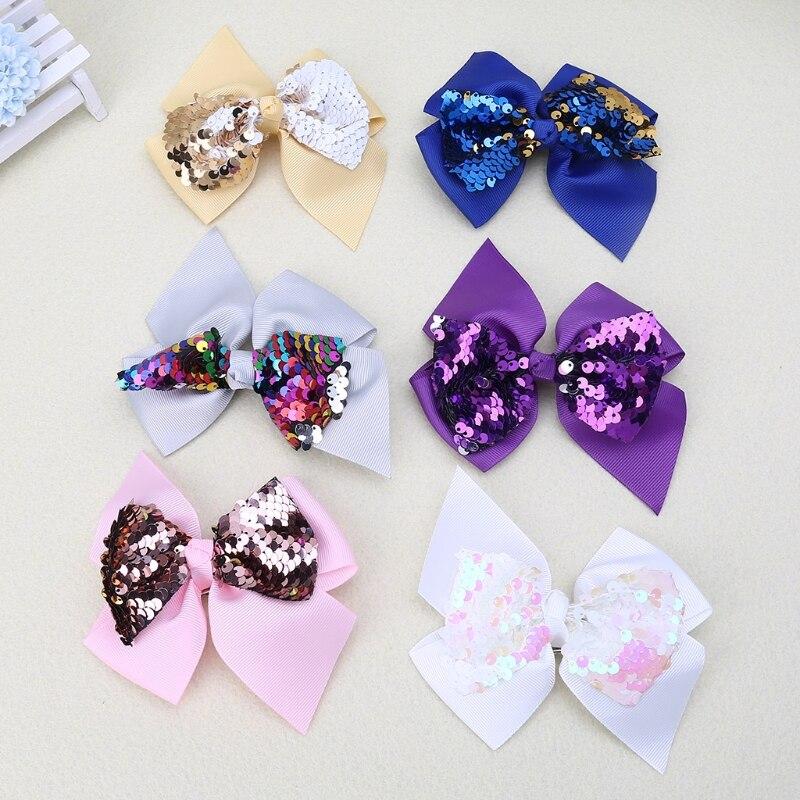 Заколка для волос для малышей, девочек, бант, Блестящие Блестки, милые аксессуары для принцессы, детские шпильки D08C