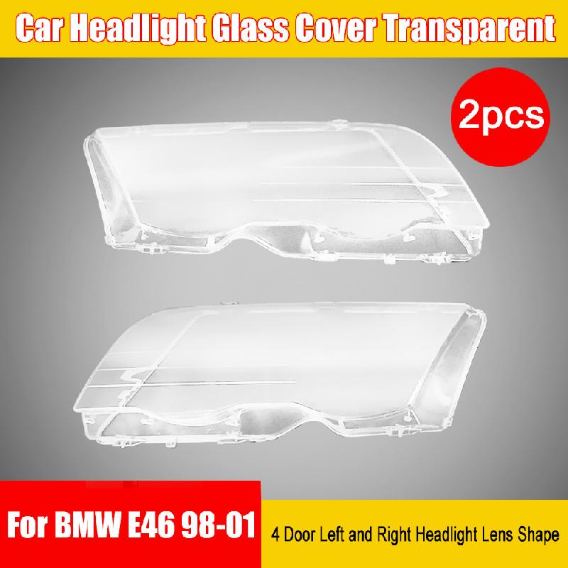 Headlight Mask 2 Pieces Of Car Headlight Glass Cover Transparent 4 Door Left And Right Headlight Lens Shape For BMW E46 98-01