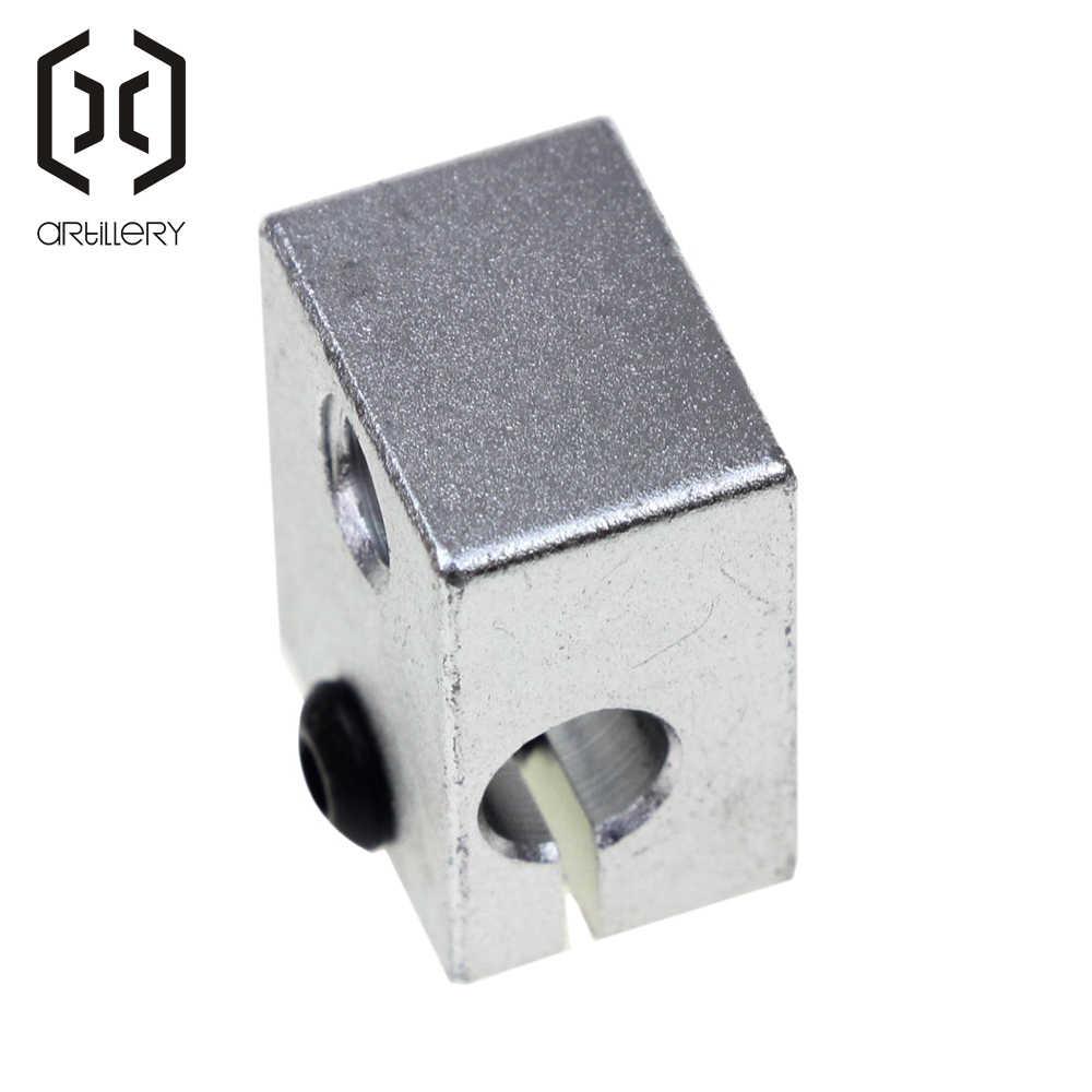 ชิ้นส่วนเครื่องพิมพ์ 3 D Reprap V6 อลูมิเนียมเครื่องทำความร้อนสำหรับ HotEnd Sand Blasting พื้นผิว 20*16*11.5 มม.