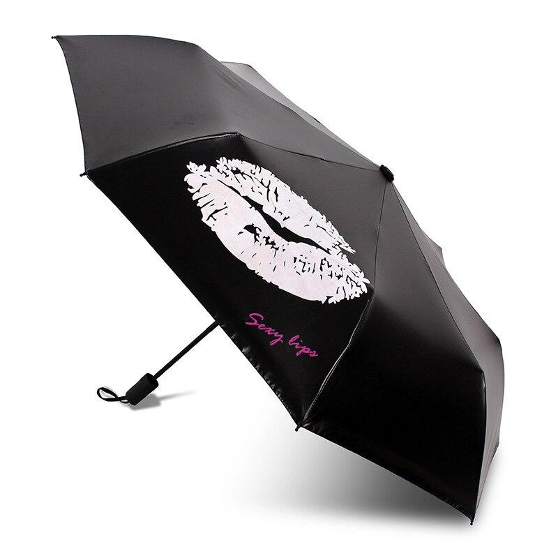 Red Lips Automatic Tri-Fold Umbrella Parasol Sun Umbrella Sunshade