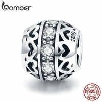 Bamoer genuíno 925 prata esterlina empilhável contas de coração claro cz contas ajuste charme pulseira colar dia dos namorados presente scc523