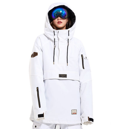 LTVT Outdoor Ski Suit Men And Women Windproof Thick Warm Breathable Sports Jacket Single And Double Board Ski Clothing White