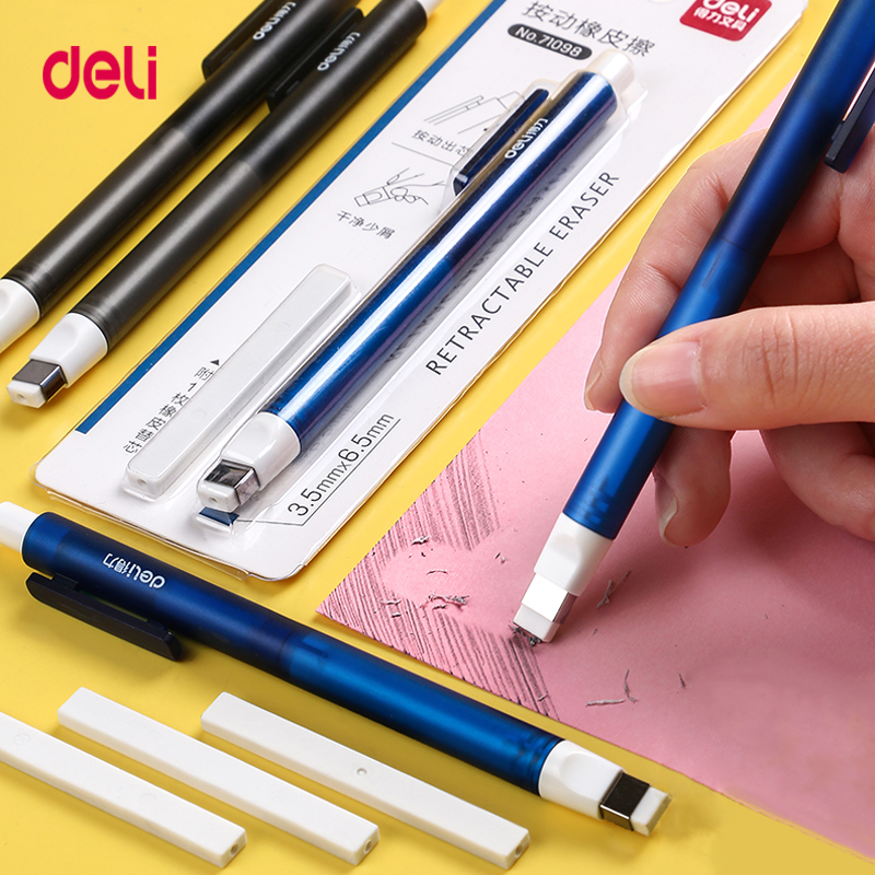 Deli 71098 Correction Supplies Pencil Rubber Retractable Press Eraser School Stationery Erasers For Kids