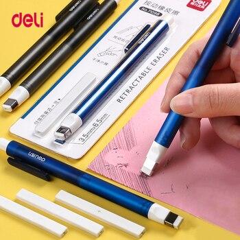 Deli 71098 suministros de corrección lápiz de goma retráctil Prensa escuela goma de borrar papelería borradores para niños