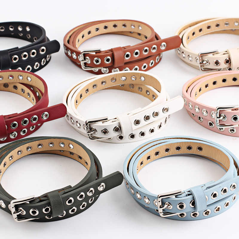 2019 New Arrival Women Waist Belt Hollow Rivets PU Leather Strap for Womens Slim Waistband Female Ladies Apparel Accessories Hot