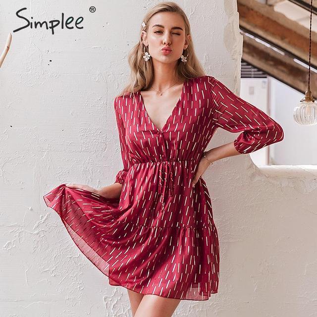 Simplee, vestido de mujer con cuello en v, volantes, estampado a rayas, cintura alta, linterna, vestido de verano, vacaciones, manga larga, vestido de fiesta de primavera