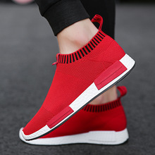 Men Shoes Lightweight Red Sock Sneakers White Breathable Slip-on Casual Shoes for Adult Fashion Footwear Male Krasovki men sneakers 2019 spring krasovki lightweight fashion man shoes famous brand shoes comfortable casual men shoes adult footwear