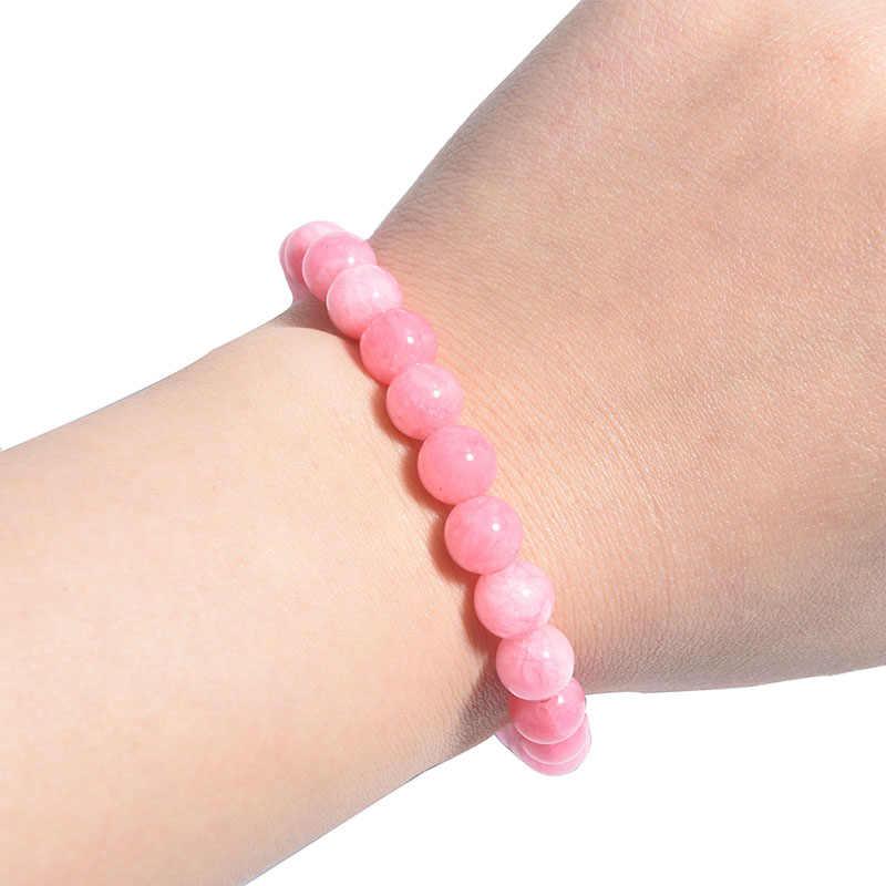 卸売ピンクローズ粉末結晶天然石 streche ブレスレット弾性コード pulserase ジュエリービーズ愛好家の女性のギフト