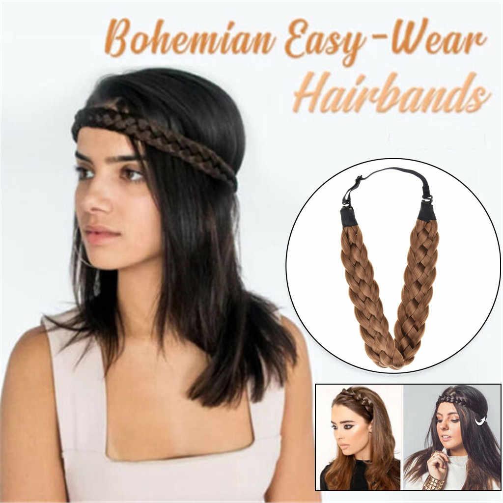 3.5cm Breed Synthetische Pruik Twist Elastische Haarbanden Vlechten Bohemian Vlecht Hoofdbanden Voor Vrouwen Stretch Meisjes Haar Accessoires yy
