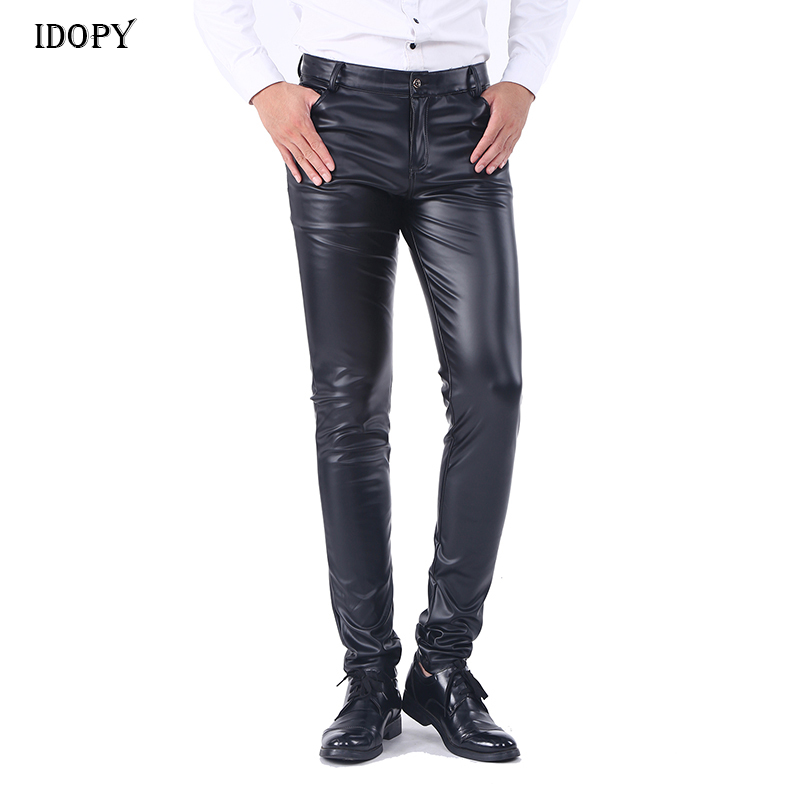 Idopy Men`s Faux Leather Pants Stretchy Black Slim Fit Motorcycle Business Casual Velvet Lined PU Leather Trousers For Male