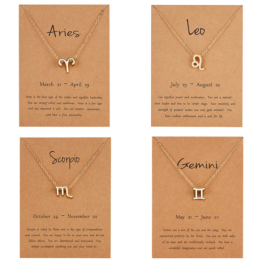 12 Constellation Pendant Gold Necklace Jewelry Choker Necklace Zodiac Sign Charm Necklace Birthday Gift Wish Card for Women Girl