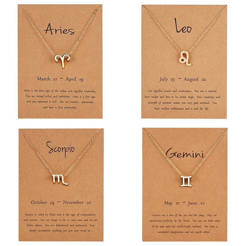 12 Constellation Pendant Gold Necklace Jewelry Choker Necklace Zodiac Sign Charm Necklace Birthday Gift Wish Card for Women Girl(China)