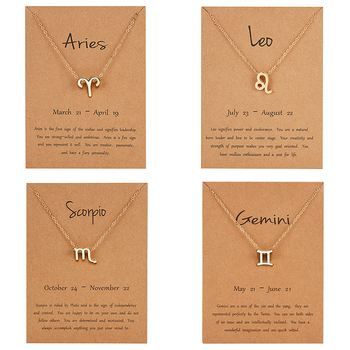 12 Constellation Pendant Gold Necklace Jewelry Choker Necklace Zodiac Sign Charm Necklace Birthday Gift Wish Card for Women Girl trendy female 12 constellation pendant necklace charm gold chain zodiac sign choker necklaces for women men collar jewelry gift