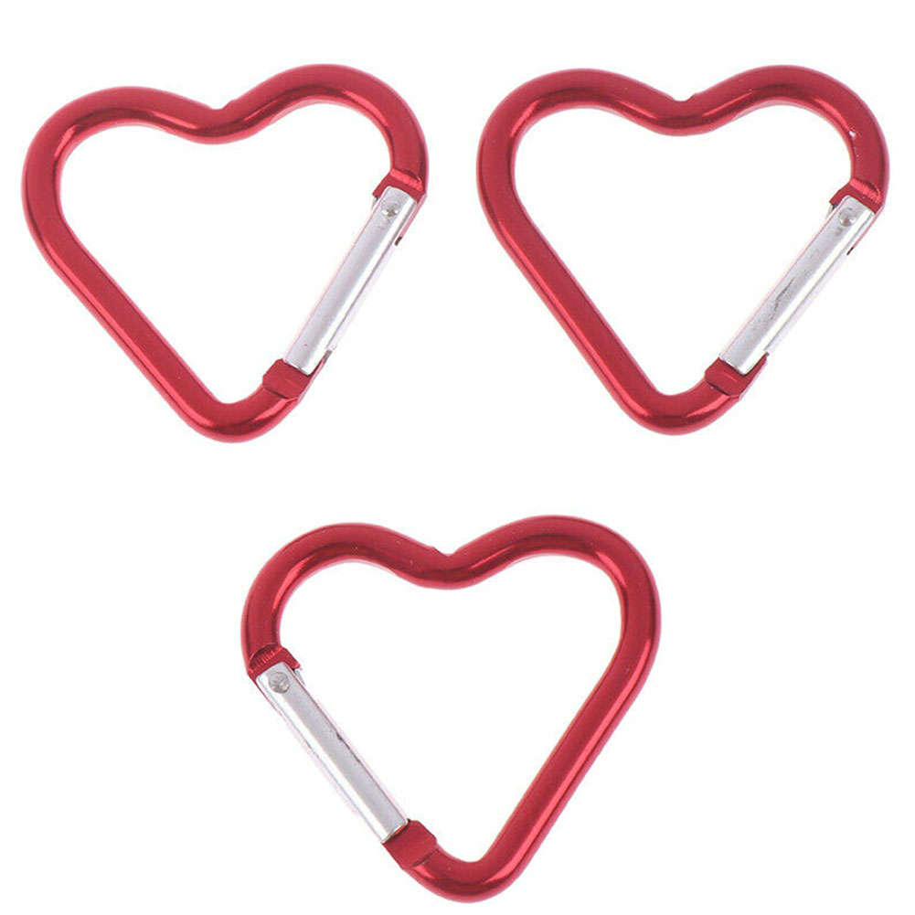 3pcs Aluminum Alloy Hiking Sport Gadgets Camping Outdoor Portable Clip Mini Heart Shaped Carabiner Fast Hanging Multi Functioned