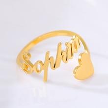 Золото серебро регулируемая кольцо персонализированные письмо имя сердце кольца для женщин Девушки из нержавеющей стали свадебные ювелирные изделия
