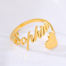 Gold Silver Adjustable Custom Ring Personalized Letter Heart Name Rings for Women Girl Stainless Steel Love Wedding Ring Jewelry