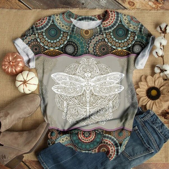 35# Plus Size Tops Women Short Sleeve 3D Animal Dragonfly Printed O-Neck Tee T-Shirt Woman Tshirts женские футболки Dropshipping 1