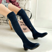 Women Winter Boots Fashion Stretch Knee High Boots Faux Suede Low Heel Long Boots Zipper Autumn Woman Boots Shoes Big Size 34 43