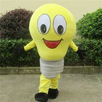 Yellow Light Bulb Mascot Costume Cosplay Game Fancy Dress Outfit Advertising Adults Size Christmas Promotion Carnival Character