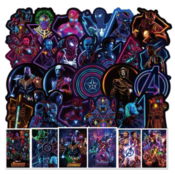 цены 50/100PCS Luminous Marvel Hero Sticker Cartoon Graffiti Sticker Suitcase Luggage Laptop Guitar Stickers Waterproof Stickers
