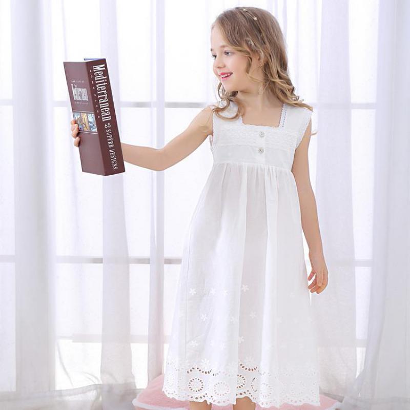 Toddle Girl White Nightdress Princess Dress Children Pajamas Nightgowns For Girls Kids Night Dress Girl Lace Sleeping Dress 3