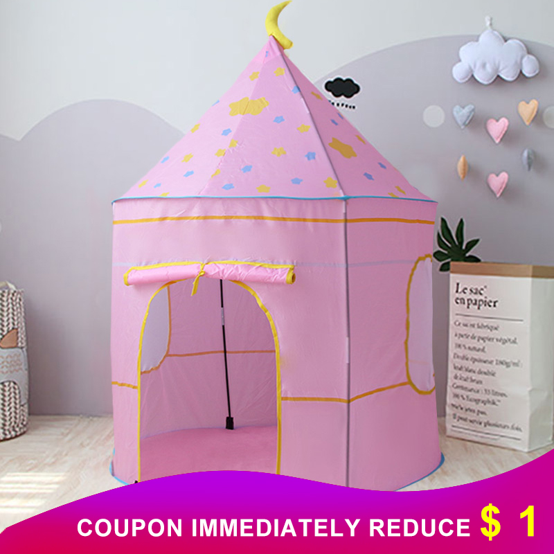 Portable Play Kids Tent Foldable Children Kids Tent Star Castle Baby House Indoor Outdoor Play Toy Christmas Gift  For Children