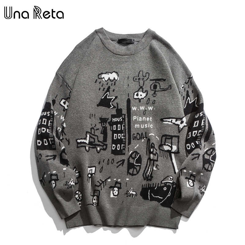Una Reta  Men's Sweater New Autumn Fashion Print Cartoon Sweater Pull Homme Casual Loose Vintage Pullover Sweater Men