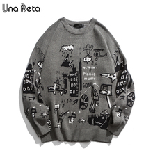 Una Reta  Mens Sweater New Autumn Fashion Print Cartoon Sweater Pull Homme Casual Loose Vintage Pullover Sweater Men