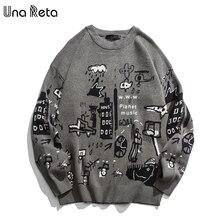 Una Reta suéter con estampado de dibujos animados para hombre, Jersey informal holgado, Estilo Vintage, para otoño