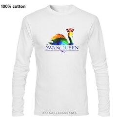 Reine des cygnes Script homme Imprimé À Manches Longues T Chemises D'été Décontracté Coton Hauts De Hip-Hop Mode T-shirts