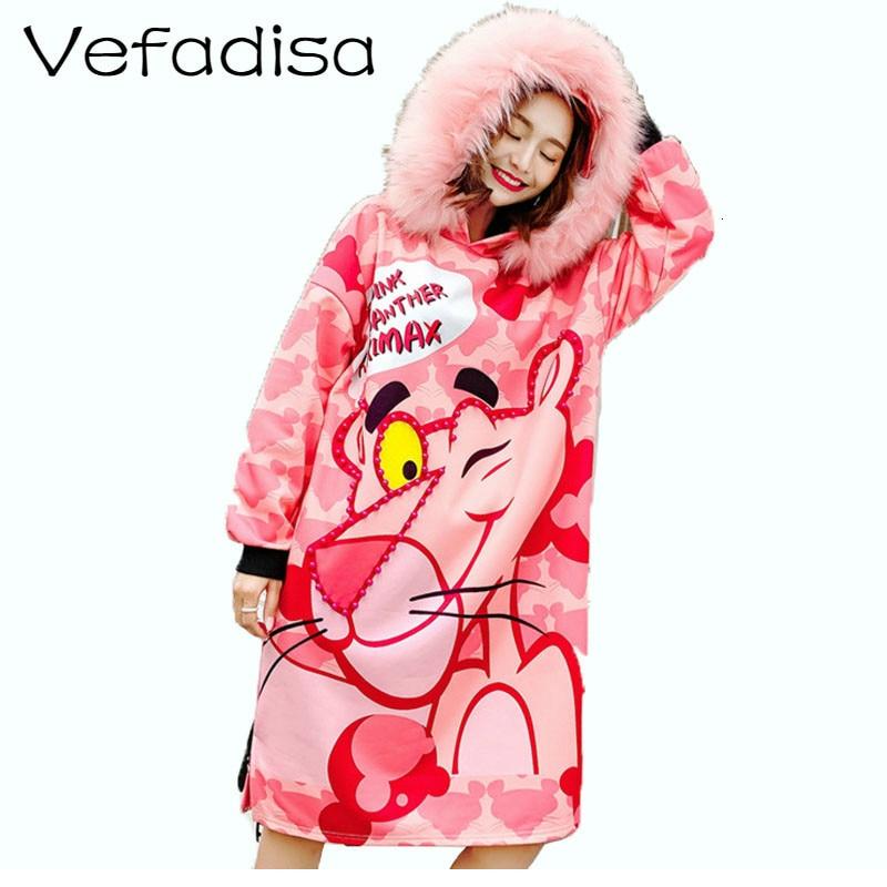 Vefadisa Women Beading Pinkpanther Printing Sweatshirt Dress 2018 Autumn Winter Pink Fur Collar Hooded Sweatshirt Dress DQ395