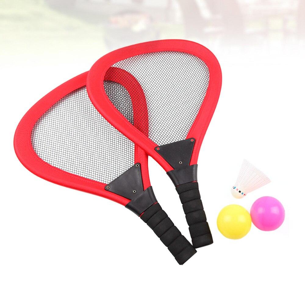 5 pièces enfants tissu raquette de Tennis plage raquettes Beachball raquette enfants fournitures de plein air (rouge 2 pièces raquette, 1pc Badminton, 2 pièces Oce