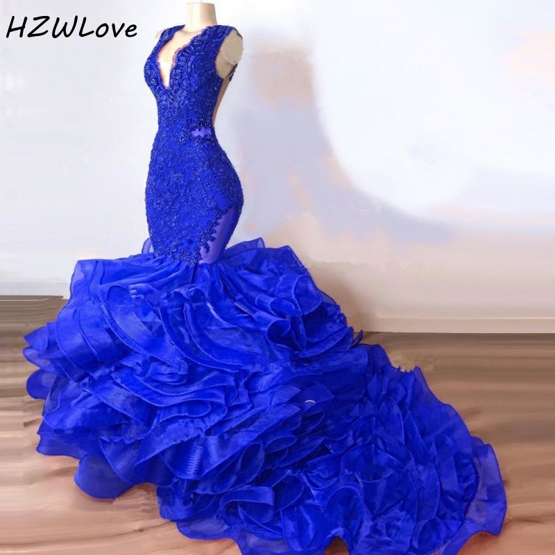 Royal Blue Mermaid Prom Dresses Long Ruched Deep V Neck Appliques Beads African Evening Dress Long Sexy Back Dubai Party Gowns