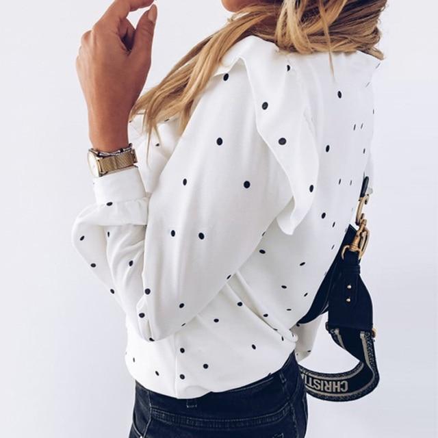 2020 Autumn Women Polka Dot Ruffle Blouse Shirt Elegant Fashion O Neck Buttons Streetwear Tops Lady Spring Long Sleeve Pullover 2