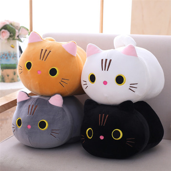 Cartoon soft cat plush toy children's toy sofa pillow cushion down cotton thickened toy gift children's room decoration cat doll plush toy down jacket cat soft body white cat cartoon cat cushion female pillow birthday gift