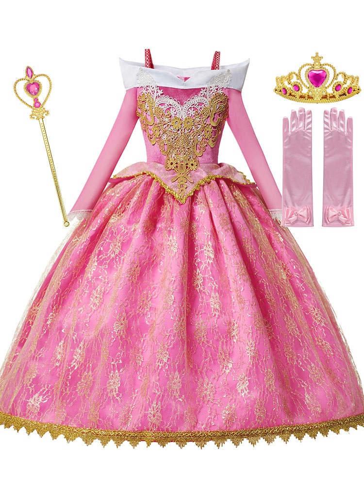 MUABABY Gown Dress-Up Frocks Aurora-Princess-Costume Long-Sleeve Fancy Deluxe Party Pageant