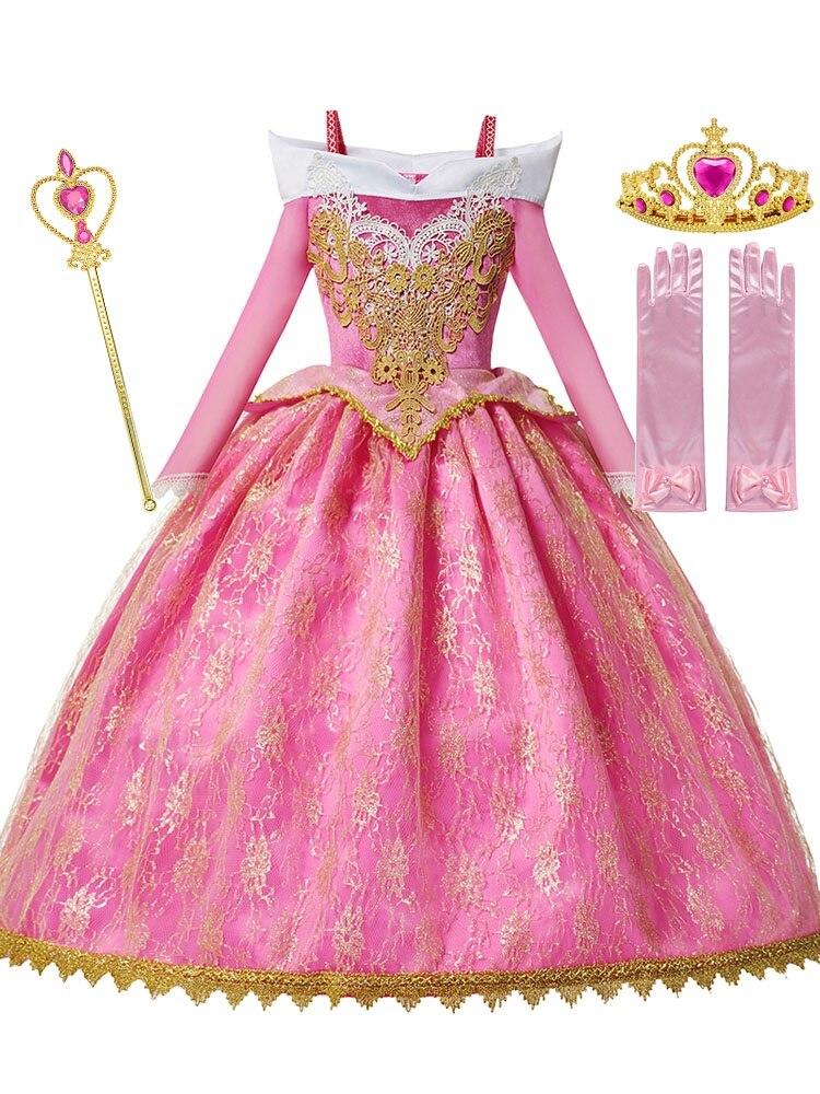 MUABABY Gown Dress-Up Frocks Fancy Long-Sleeve Deluxe Sleeping Beauty Children Pageant