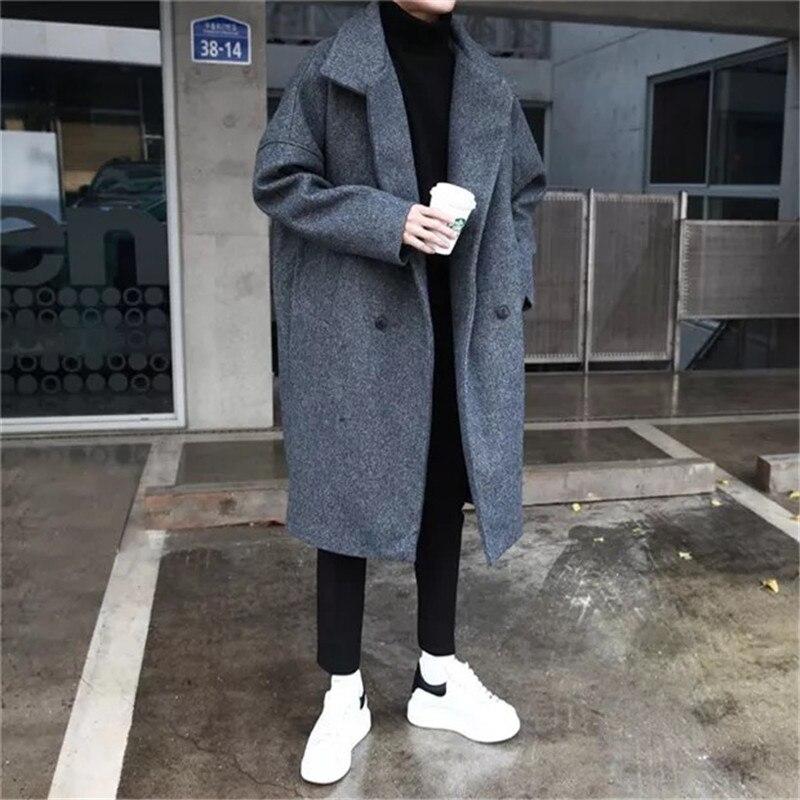 YASUGUOJI Mens Double Breasted Overcoat Long Woolen Coat for Men Wool Winter Coat Men Turn-down Collar Long Woollen Wind Coat