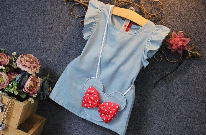 H48e4ddaed0d2467ba97c36014203d841H Girls Dress 2018 Summer Explosion Solid Color Denim Dress Cartoon Polka Dot Bow Cartoon Bunny Satchel Korean Baby Cute Dress