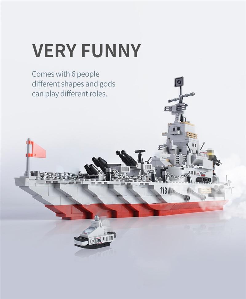1000+ PCS Military Warship Navy Aircraft Army Figures Building Blocks LegoINGlys Army Warship Construction Bricks Children Toys (3)